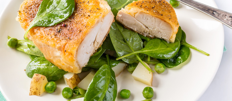 Parmesan Chicken Breasts Served with Spinach & New Potatoes