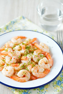 shrimps cooked with garlic and dill - recipes from English Garden & Antiques