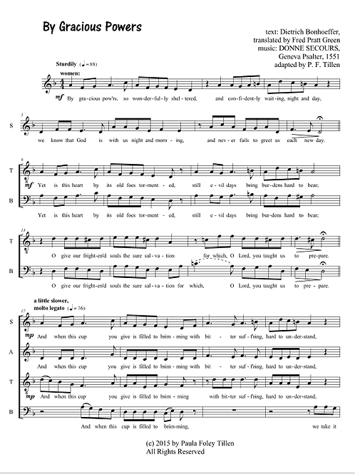 By Gracious Powers- SATB a cappella
