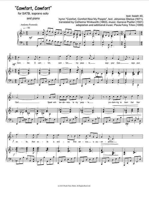 Comfort, Comfort- for SATB, soprano solo, & piano