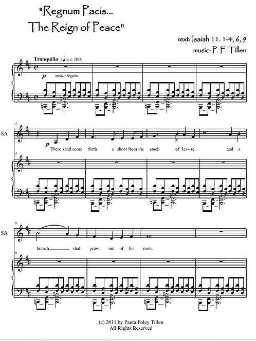 Regnum Pacis: The Reign of Peace- for SATB w/piano