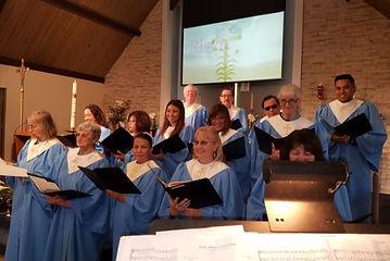 Church Choir blue robes Sanctuary