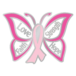 Butterfly Design Breast Cancer Awareness Lapel Pin