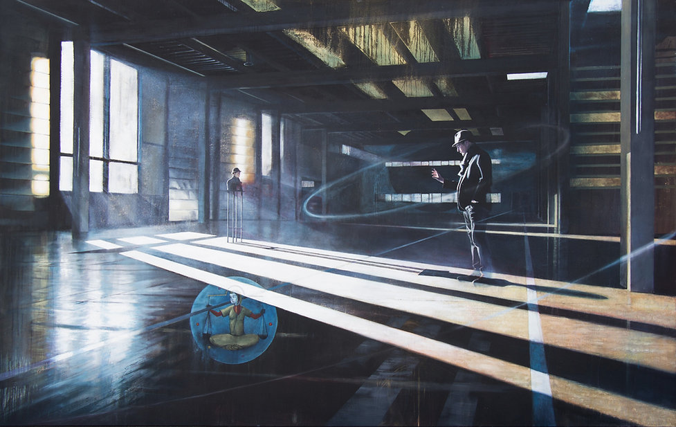 Contemporary monumental scale painting by Andrew Gray with Pale blue dot and Bina48