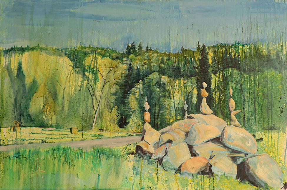 stone balancing lorzendamm baar AndrewGray painting