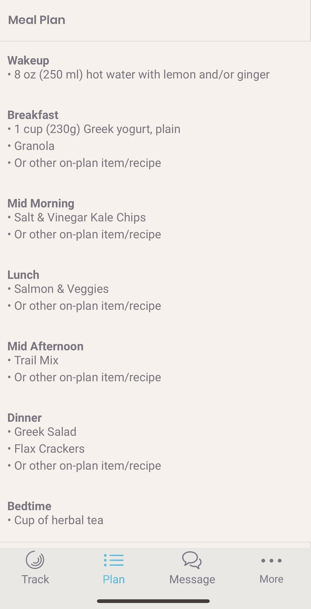 Meal plan for holistic nutrition program