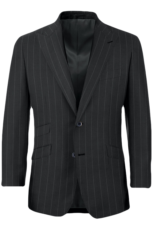 Gray pin stripe suit