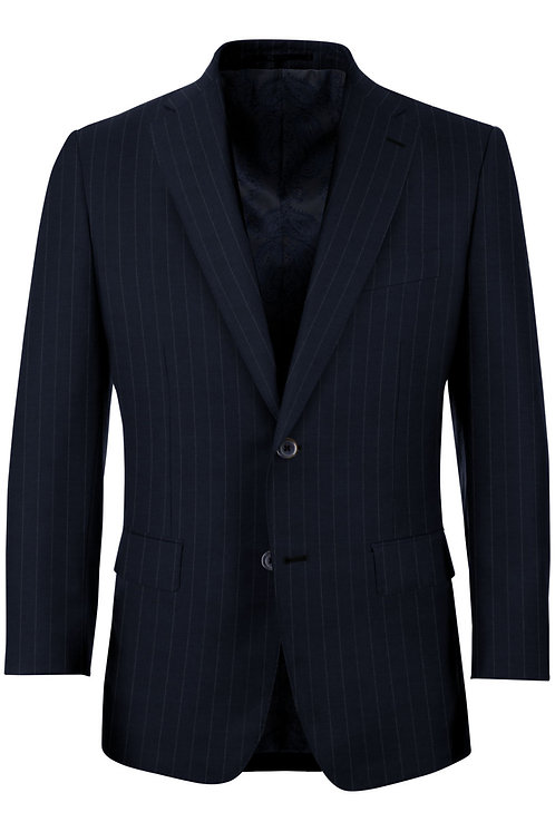 Navy wide chalk stripe suit