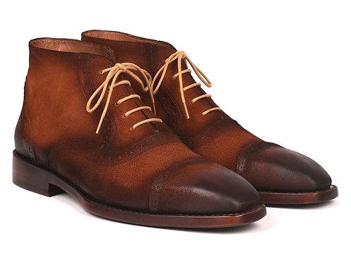 Paul Parkman Antique Suede Brown Cap Toe Ankle Boots (ID#644BRW17)