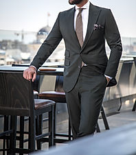 Man in expensive custom tailored suit st