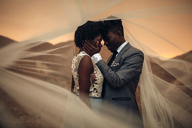 Black happy newlyweds stand under bridal