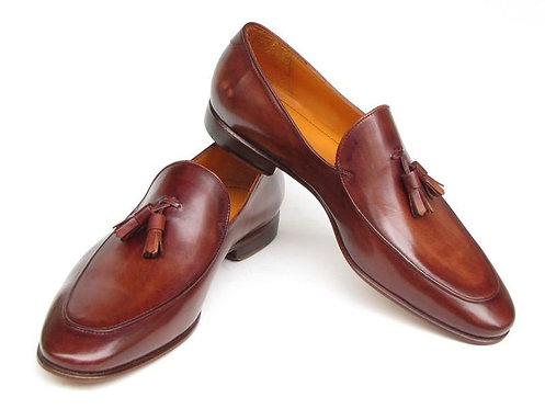 Paul Parkman Men's Tassel Loafer Brown Hand Painted Leather (ID#049-BRW)