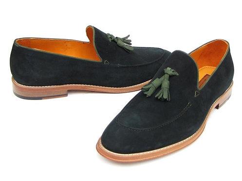 Paul Parkman Men's Tassel Loafer Green Suede Shoes (ID#087-GREEN)