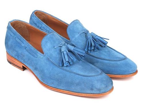 Paul Parkman Men's Tassel Loafers Blue Suede (ID#BLU32FG)