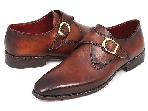 Paul Parkman Monkstrap Dress Shoes Brown & Camel (ID#011B44)