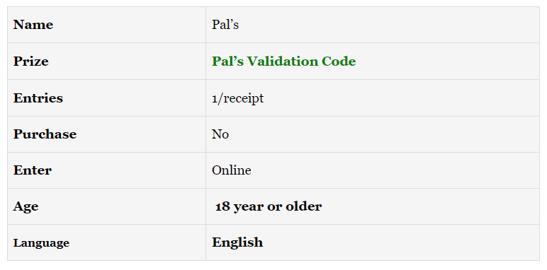 Pal's Customer Feedback Survey @www.Palslistens.com