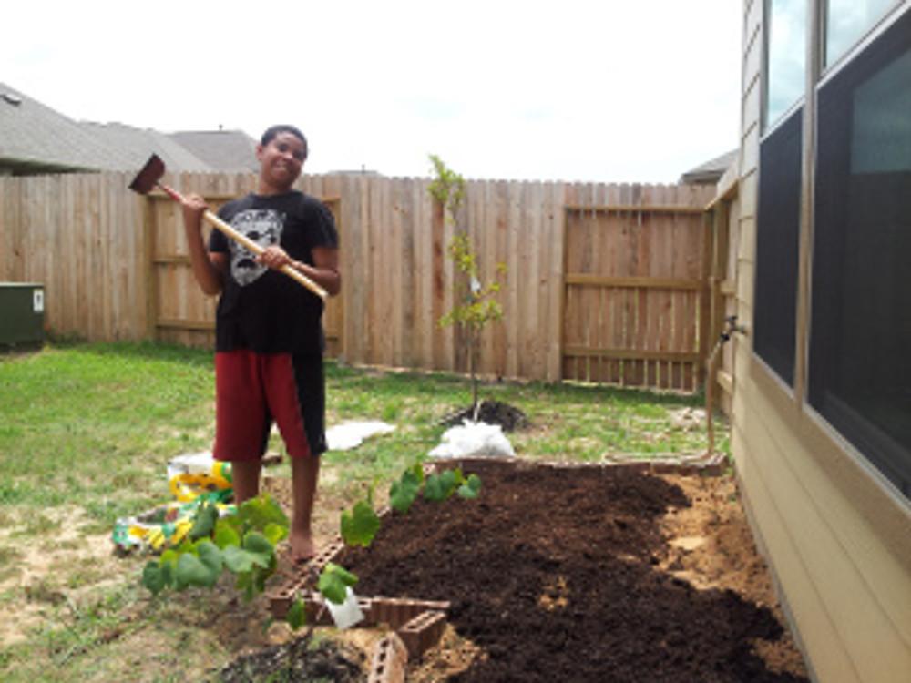 Chris creates his garden