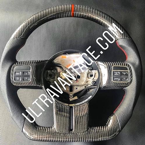 "2011-2018 Jeep Wrangler JK/JKU ""CLASSIC"" Black Carbon Fiber Steering Wheel"
