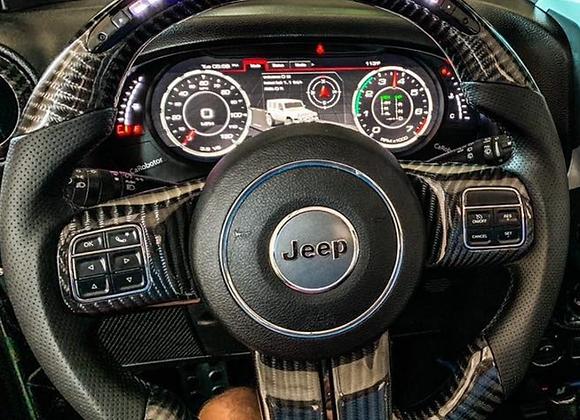 2011-2018 Jeep Wrangler JK/JKU Black Carbon Fiber Steering Wheel with LED's