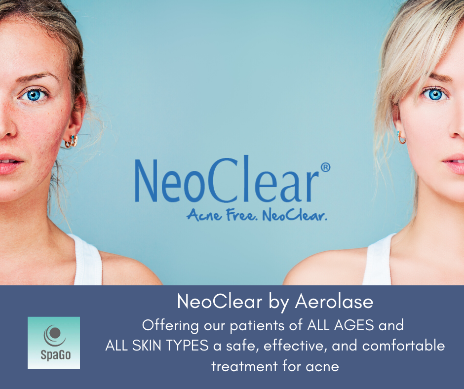 SpaGo Medical Spa and Laser Acne Treatment Center introduceNeoClear Patented technology painless and safely destroys acne and helps to reduce and restructure acne scars.
