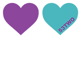 Two love hearts in the 53two purple and blue. In the blue heart, 53two is written in purple.