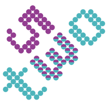 The purple and blue logo of 53two, made of individual dots.
