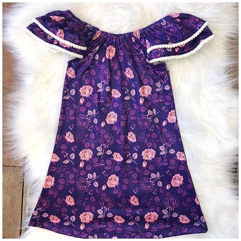 Purple Floral Cap Sleeve Dress by Pete & Lucy