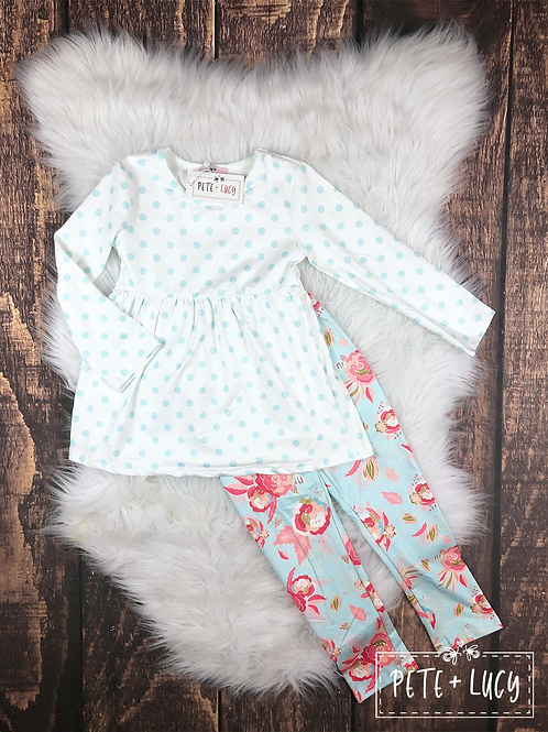 Polka dot Long Sleeve Pants set With Floral Pants Pete & Lucy