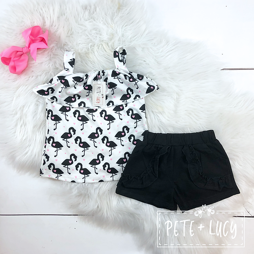 Flamingo Tank Two Piece Short Set by Pete & Lucy