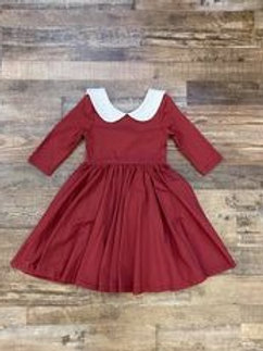 Red Dress With White Collar