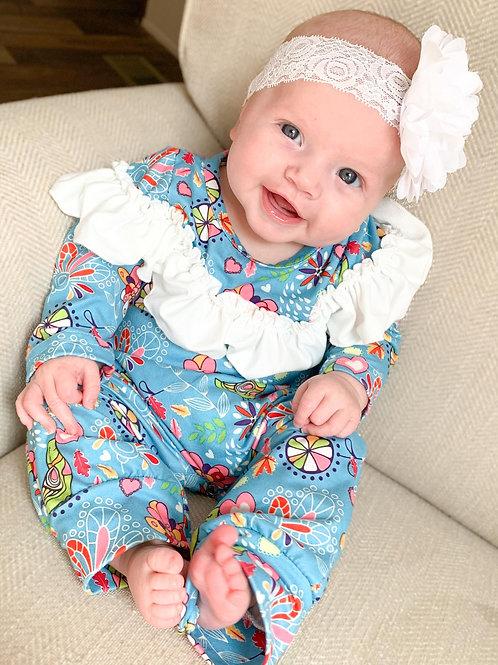 Adorable Blue Romper with White Ruffle Multi color Design Pete & Lucy