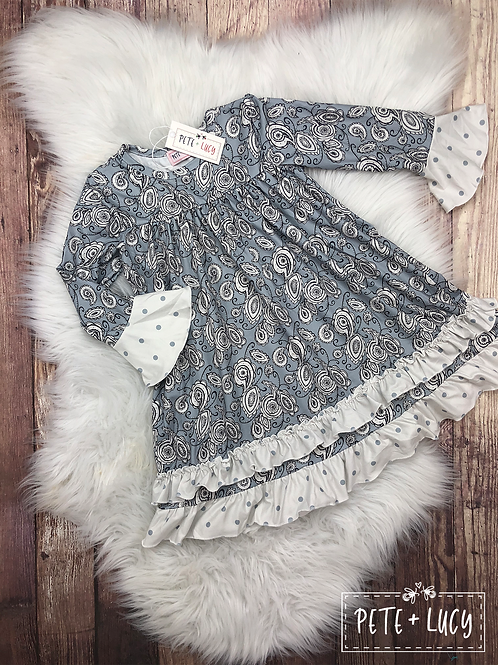 Grey and White Paisley with Polka dot Ruffle Dress