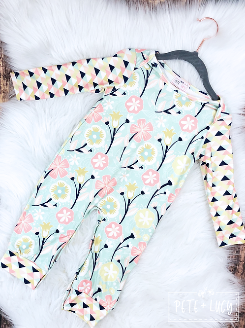 Mint, Pink and Navy Floral Print Romper by Pete & Lucy