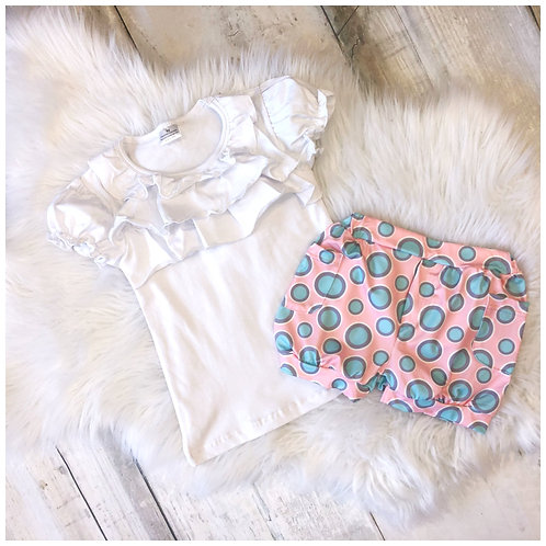 Pink Bubble Short with Aqua dots and White Ruffle Tee Short Set by Pete & Lucy
