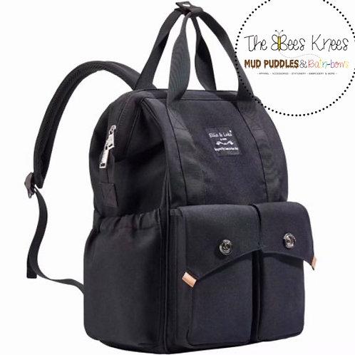 Black Diaper Backpack with Stroller Strap