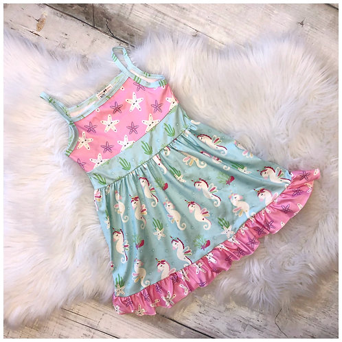 Seacorn and Starfish Tank Ruffle Dress by Pete & Lucy