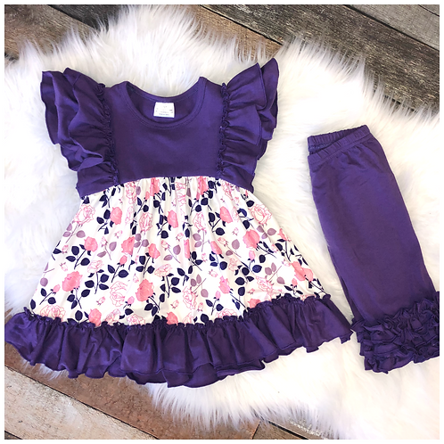 Purple and Pink Floral Two Piece Capri Ruffle Set by Pete & Lucy