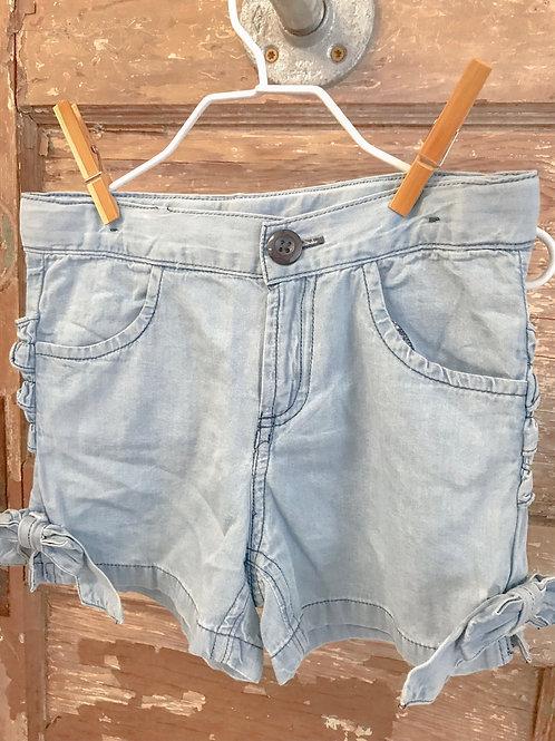 RuffleButts Light Wash Denim Bow Shorts