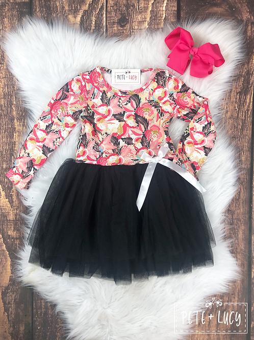 Pink Floral Tulle Tutu Dress