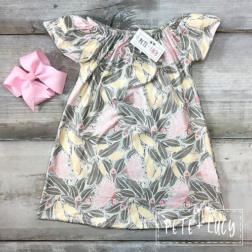 Yellow and Pink Floral Short Sleeve Dress by Pete & Lucy