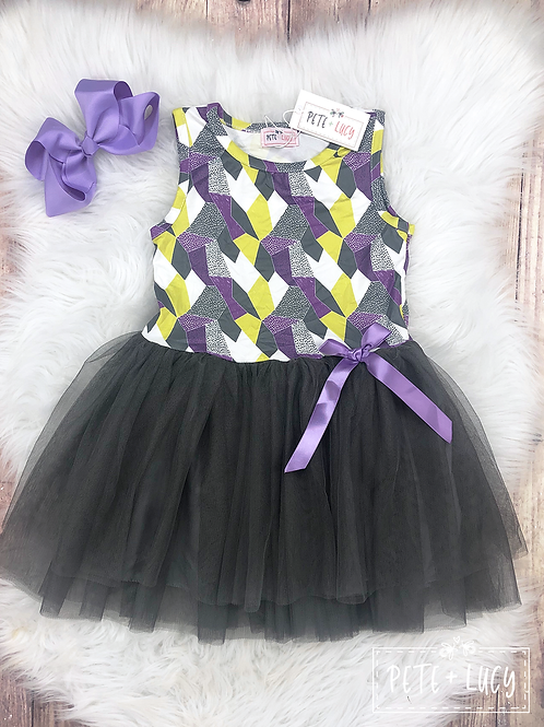 Lime Purple and Grey Tulle Twirl Dress by Pete & Lucy