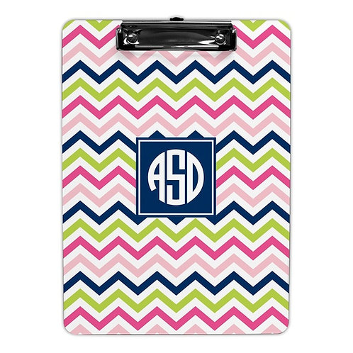 Cheveron Pink, Navy & Lime Clipboard