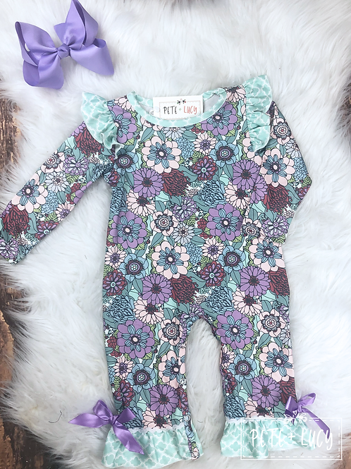 Mint and Purple Flower Explosion Romper by Pete & Lucy