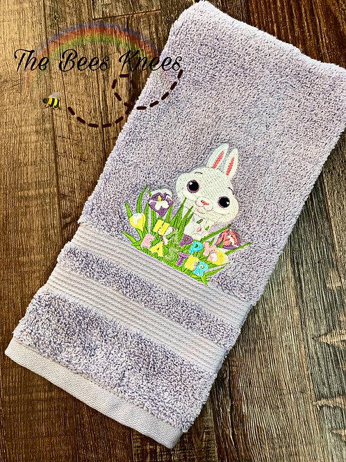 Happy Easter, bunny hand towel