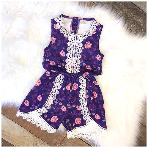 Sleeveless Purple Floral Romper with Lace Accent By Pete & Lucy