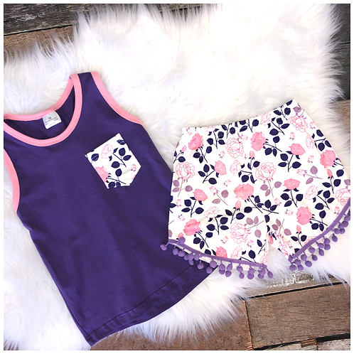 Purple and Pink Floral Two Piece Pompom Short tank Set by Pete & Lucy