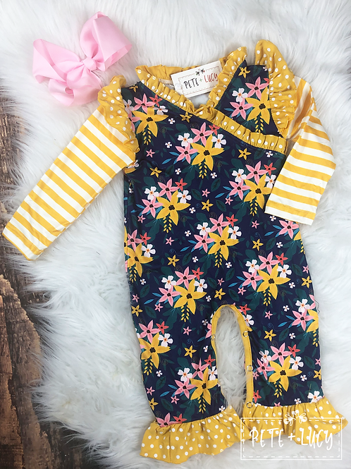 Blue and Gold Floral and Stripe Print Romper by Pete & Lucy