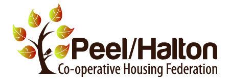 Peel/Halton Co-operative Housing Federation logo.