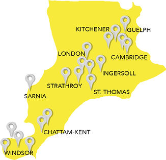 Map of Southwestern Ontario Clients