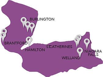 Map of Hamilton Niagara Region of Clients